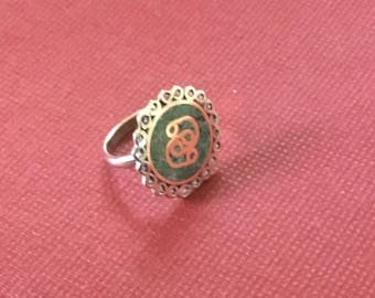 Copper ring, chrysocolla and filigree