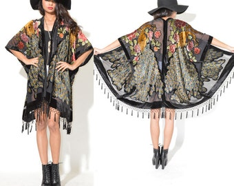 Silk Burnout Velvet Drape Gypsy Fringe PEACOCK Kimono Festival Dress Cape Jacket