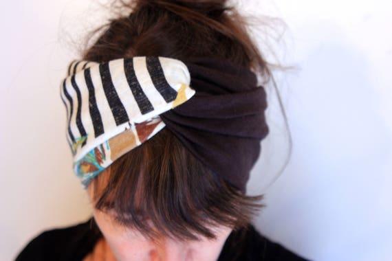 Headband headband-Turban style Retro bicolor Brown and white Turquoise Brown foliage