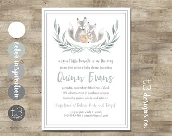 BABY FOX Baby Shower Invitation, baby shower invite, couples baby shower, watercolor fox, neutral, woodland animals, boy or girl, fox family