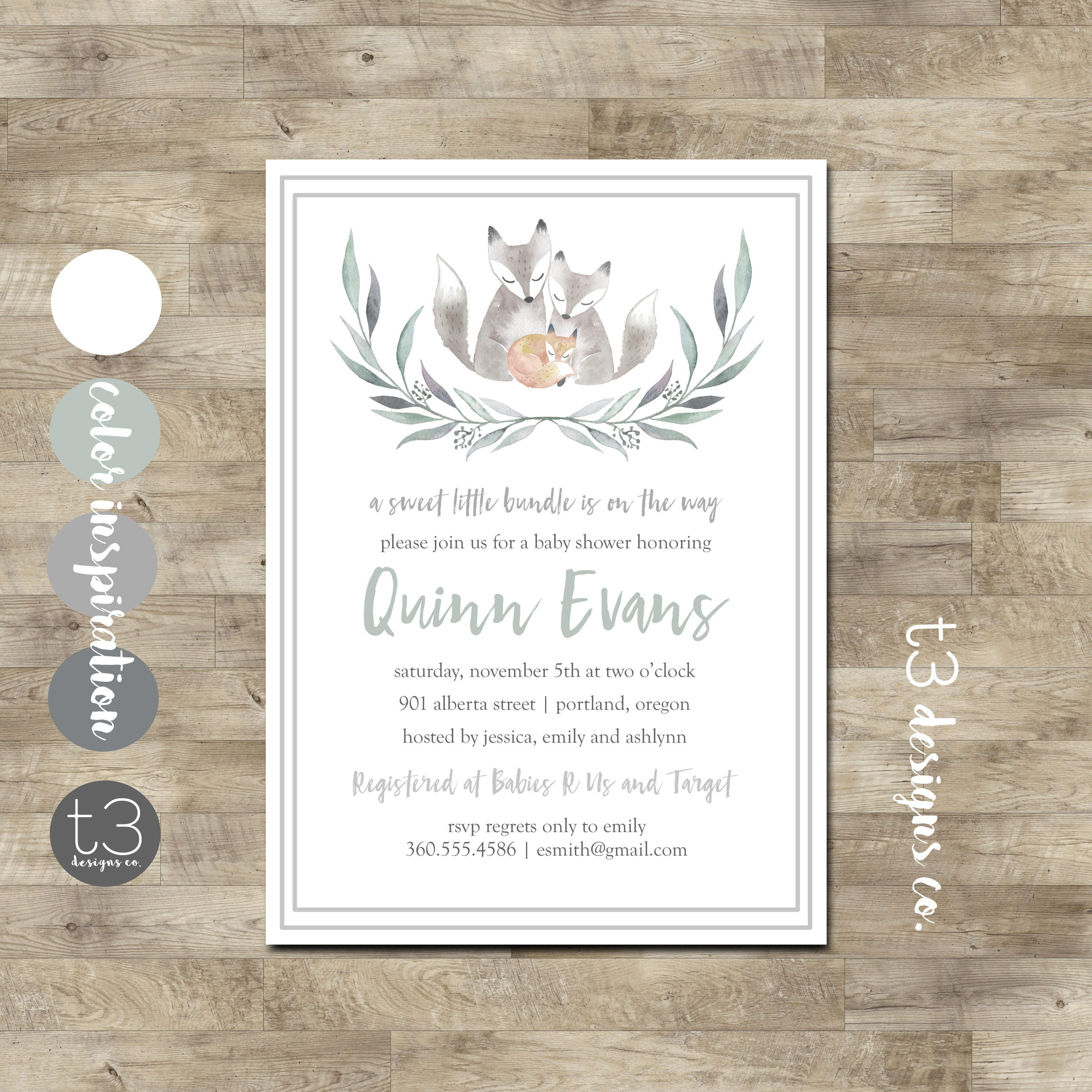 BABY FOX Baby Shower Invitation, baby shower invite, couples baby ...