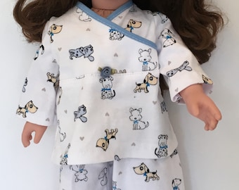 """2 piece Pajama set for  American Girl 18"""" doll / free shipping / great gift"""