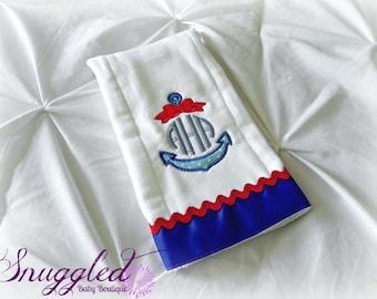 Girly Monogrammed Anchor Burp Cloth