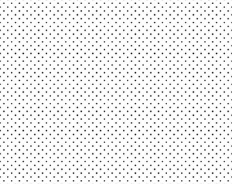 Swiss Dots White with Black Pin Dots Fabric by Riley Blake