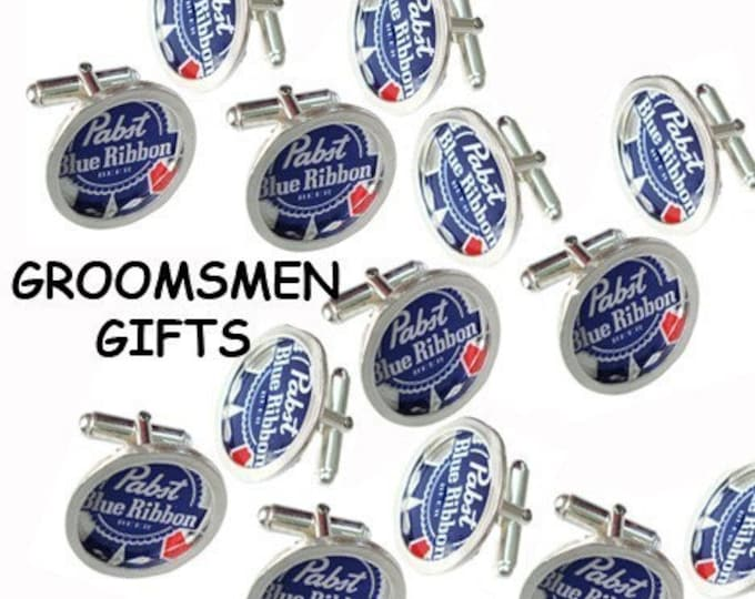 PBR Bottle Cap/ Sterling Silver cuff links groomsmen gifts