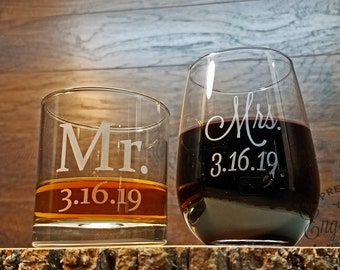 Whiskey and Wine Glass Set, Custom Engraved, Mr. and Mrs. Glasses, Gift for Couple, Wine Glass, Whiskey Glass, Wedding Gift, Newlyweds