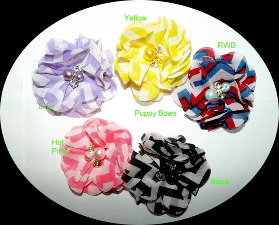 Puppy Dog Bows ~ Chiffon  14 color choices  flowers boy or girl pet hair bow barrettes or bands  (fb11)