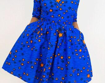 ankara dress, print dress, gathered dress, african print dress