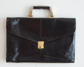 Vintage Ponte Vecchio doux cuir besace cartable attaché