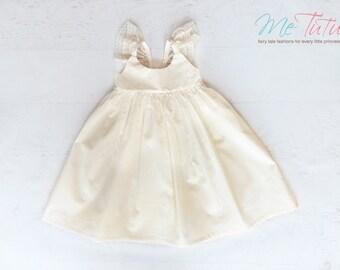 Vintage Shabby Chic Cream Ivory Flutter Sleeve Floral Girl Baby Girl Dress