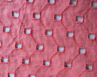 Vintage Coral Eyelet Cotton Fabric Sewing Material