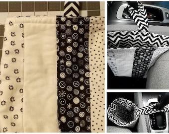 Car Trash Bag Kit, Black and White Fabrics, Car Tote