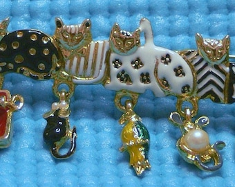 Enamel Cat Brooch with toys