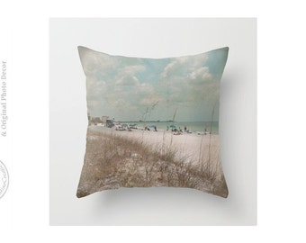 Vintage Look Beach Day Tropical Summer Vacation Beach House Cottage House Beachy Blue Gray Green Throw Pillow Cover