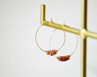Créoles perles de jaspe rouges