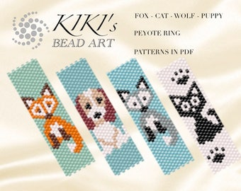 Pattern, peyote animalrings Fox, Dog, Cat, Wolf - peyote ring set of 4 patterns in PDF - instant download