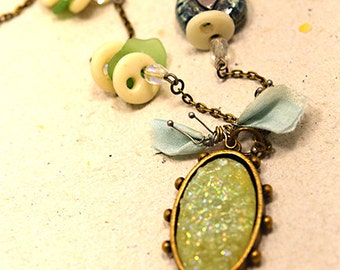 Green Druzy Mixed Media Necklace