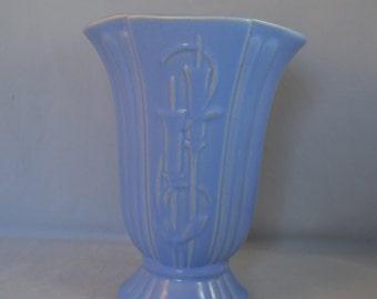 Vintage Large Blue Pottery Vase, Marked USA, McCoy-like, Tulip