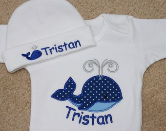 Personalized Applique Baby Onepiece Bodysuit and Cap - Fancy Whale