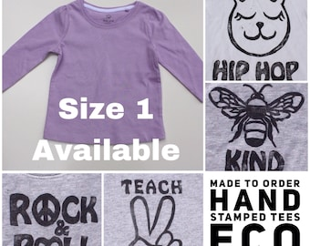 Lilac Purple Kids Tshirt  Size 1 AU 12-18 Months Baby Top Trendy kids tee Bee Kind Tee Hippie Kid Clothing Boho Kids Clothing Eco Ink Tshirt