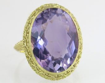 Antique Estate Art Deco Engraved 18K Yellow Gold 10.00ct Genuine Amethyst Ring