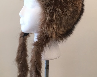 Vintage Fur Hat - Upscale Trapper Style - Long Tails - Fun Winter Accessory - Ski Mountain Trip - Winter Warmer - Gift for All - Quirky