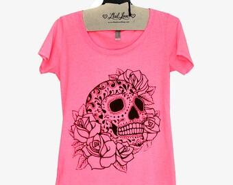 SALE M- Heather Neon Pink Scoop Neck Tee with Sugar Skull Screen Print