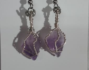 Hand Crafted Wire Wrapped Natural Amethyst Earrings.