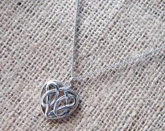 Celtic Knotwork Heart Silver Necklace - Pagan Welsh Irish Scottish Manx Valentine's Day