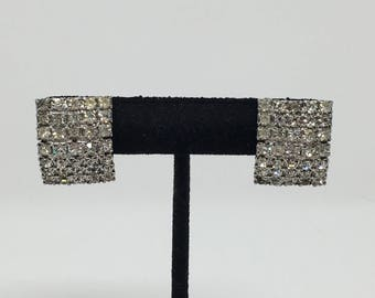 Judy Lee Rhinestone Clip On Earrings Clear Signed Vintage Glamour Costume Jewelry