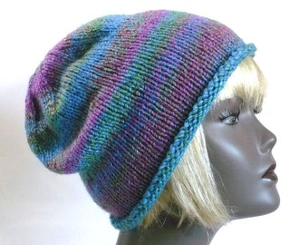 Blue & Purple Striped Slouchy Hat: Colorful Hand Knit Hat, Vegan Hats, Handmade in the USA, Ready to Ship