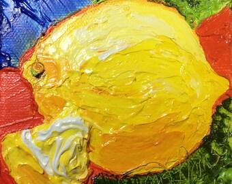Lemon 4 by 4 Inch Original Oil Painting by Paris Wyatt Llanso FREE SHIPPING
