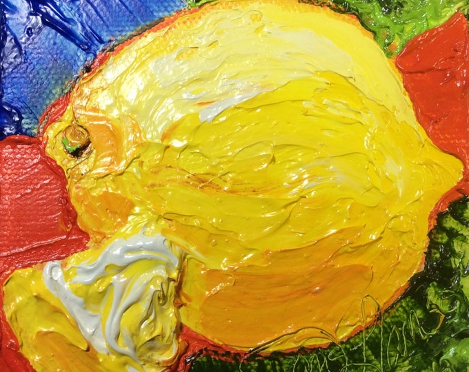 Featured listing image: Lemon 4 by 4 Inch Original Oil Painting by Paris Wyatt Llanso FREE SHIPPING