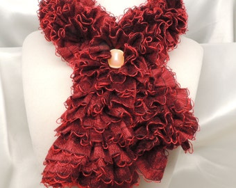 Plush Burgundy Ruffled Scarflette with Pin