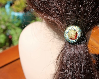 Hair accessory-gold-green-red-dichroic glass-Ponytail-elastic band- fused glass-ponytail holder-scrunchy