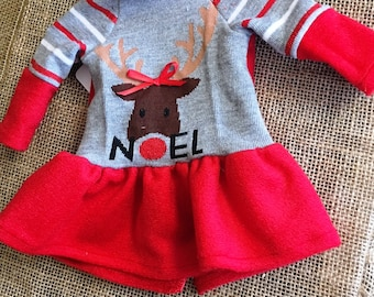 Red and Heather Gray Christmas Dress with Rudolf Reindeer Motif - For 18 inch Doll Fits American Girl size dolls