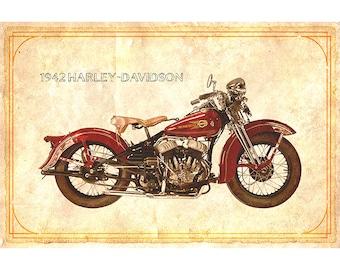 1942 Harley-Davidson Motorcycle print