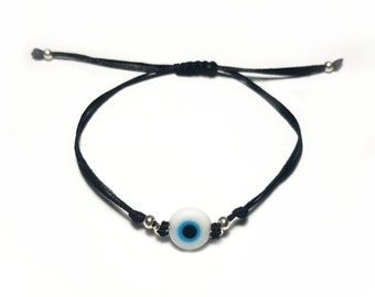 Evil Eye Bracelet, Good Luck Bracelet, Evil Eye Protection, Macrame Bracelet, Adjustable Bracelet, Friendship Bracelet, Tiny Bracelet