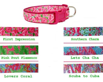 Lilly Pulitzer-inspired Dog Collar and/or Leash on Dark Pink | HPFI | Flamenco | Lovers Coral | Southern Charm | Cha Cha | Scuba | XS to XL