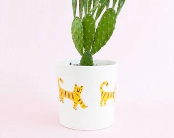 Nimerah Tiger medium planter - orange stripe big cat ceramic pot for indoor or outdoor house plants