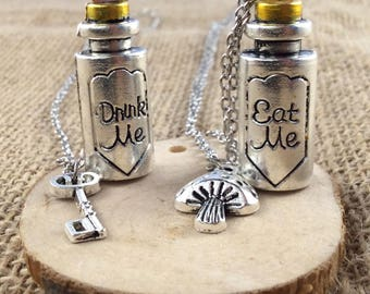 Alice in Wonderland Drink Me & Eat Me Necklace