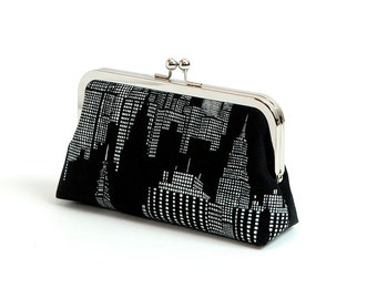New York clutch purse, BagNoir bag, Bridesmaid clutch, Formal clutch purse, Gift under 50, Gift for her,