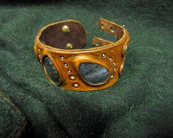 Labradorite and leather statement cuff bracelet.