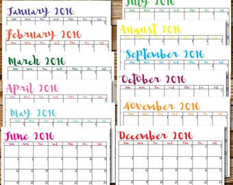 2016 Calendar Printable Colorful Calligraphy Instant Download Erin Condren Organizer Daily Planner