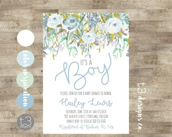 Baby shower invitation etsy whimsical boy baby shower invitation boy baby shower invite baby shower floral baby filmwisefo Gallery