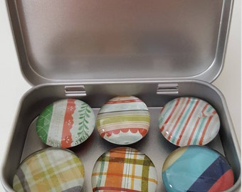 Glass Pebble Magnets Set of 6 Plaids and Stripes