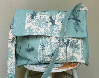 Robins Egg Blue Dragonfly Large Messenger Multi Purpose Bag - Dragonflies - Adjustable Strap - 6 Pockets - Key Fob