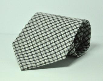Brown Plaid Men's Necktie - Cotton Necktie - Custom Ties
