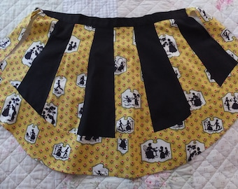 Vintage Yellow Floral Southern Belle Black Silhouette Cotton Apron
