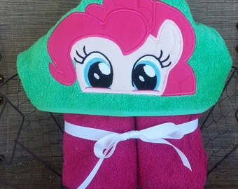 Pink Pony Hooded Towel with FREE Embroidered Name